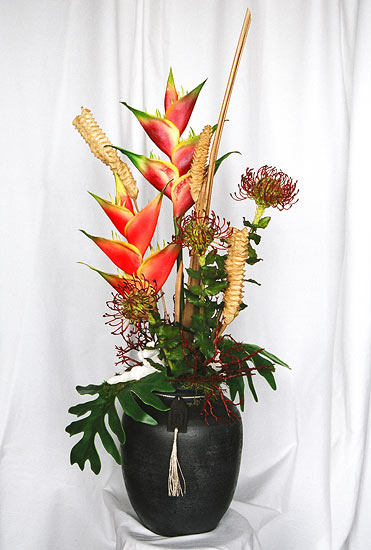 Maui dried flowers silk arrangements tropical silk flower arrangement in bamboo mightylinksfo Gallery