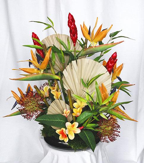 Maui dried flowers silk arrangements tropical silk flower arrangement in bamboo mightylinksfo
